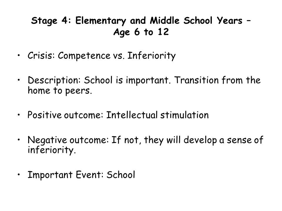 Stage 4: Elementary and Middle School Years – Age 6 to 12