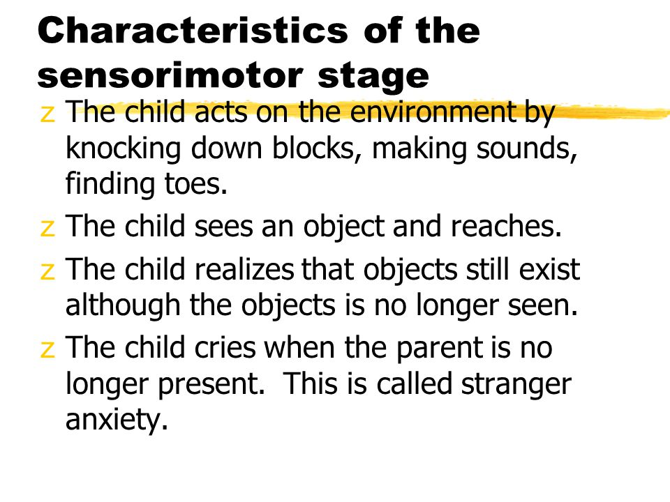 Characteristics of the sensorimotor stage