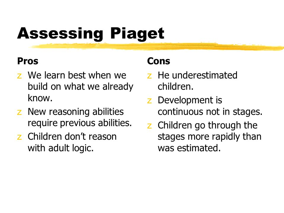 Assessing Piaget Pros Cons