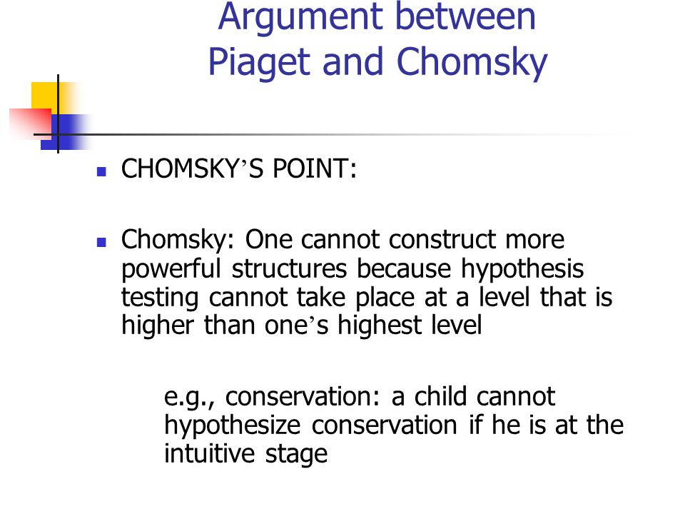 Argument between Piaget and Chomsky