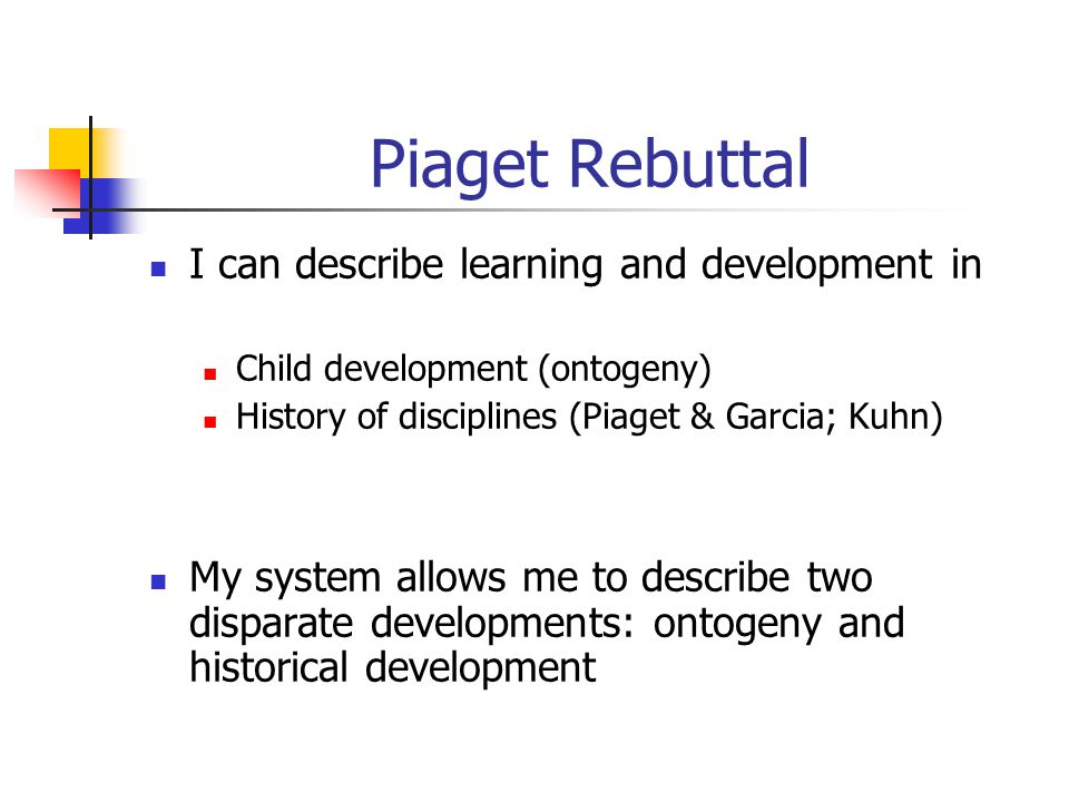 Piaget Rebuttal I can describe learning and development in