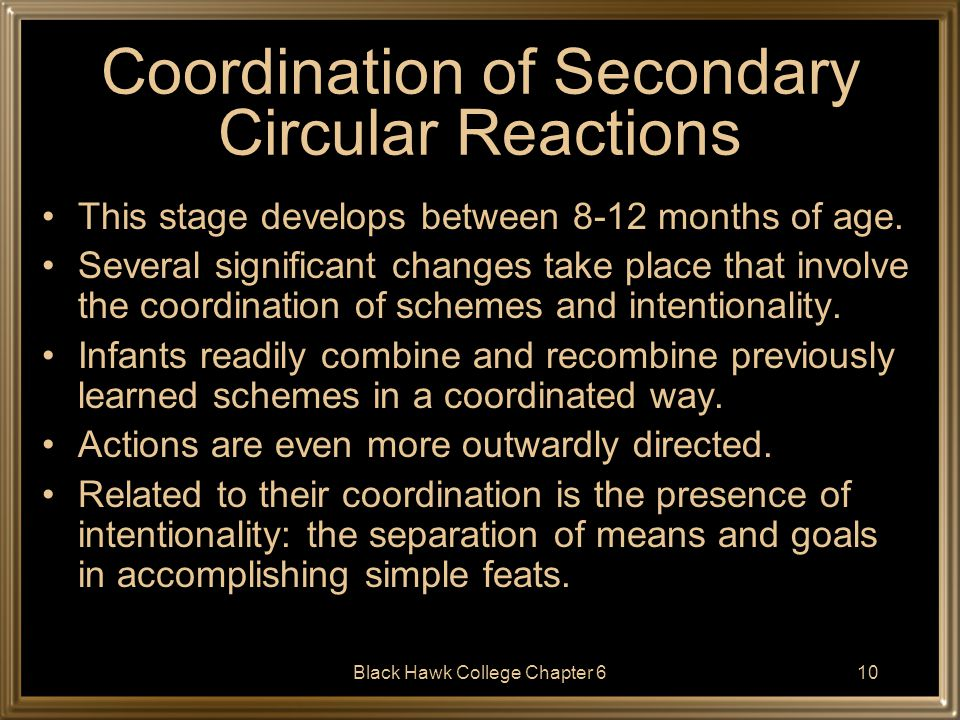 Coordination of Secondary Circular Reactions