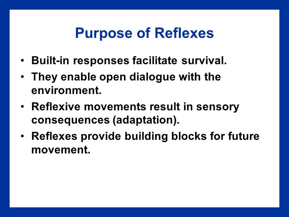 Purpose of Reflexes Built-in responses facilitate survival.