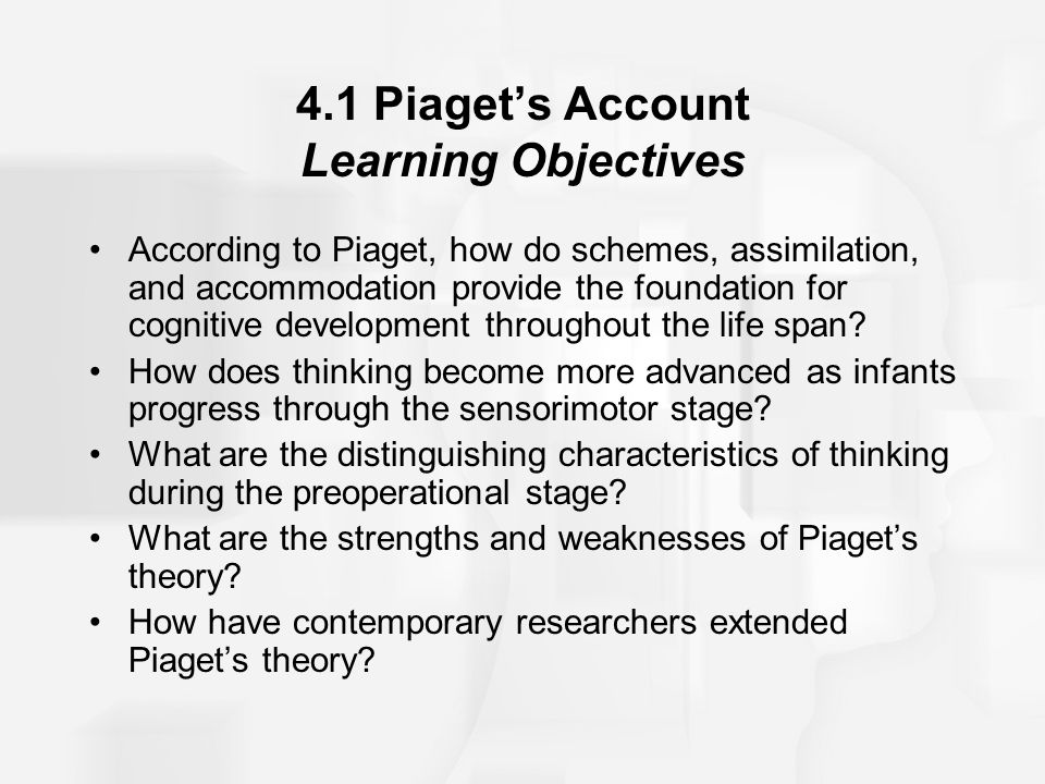 4.1 Piaget's Account Learning Objectives