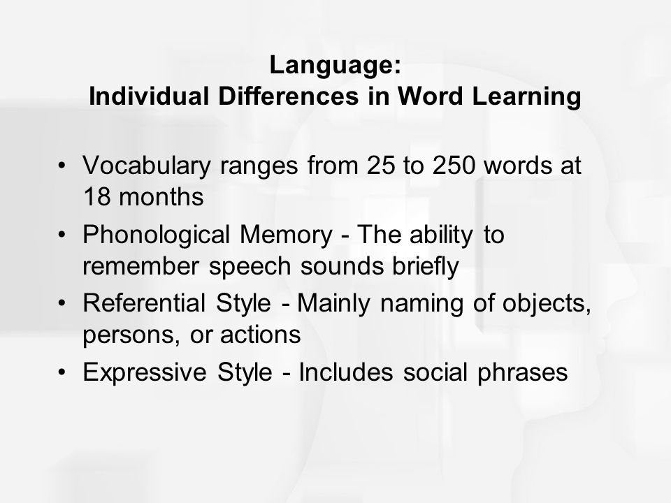 Language: Individual Differences in Word Learning