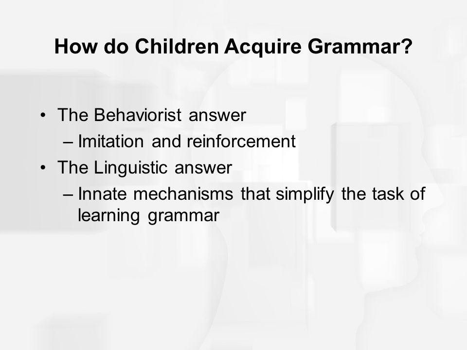 How do Children Acquire Grammar
