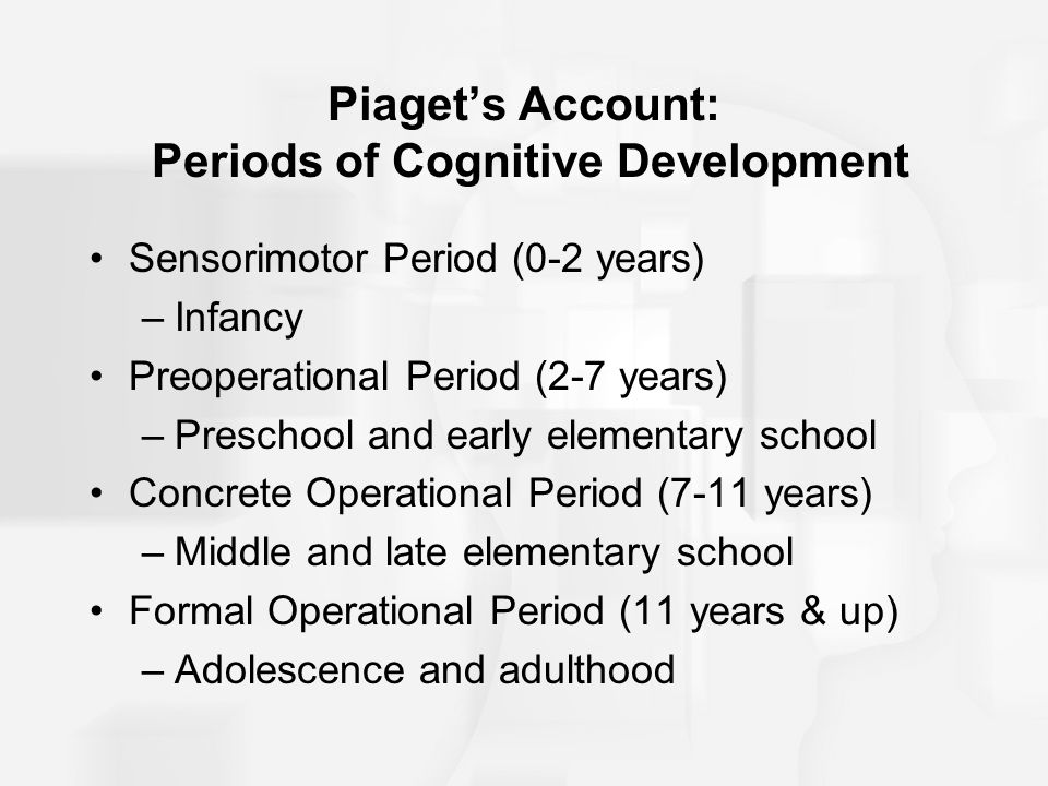 Piaget's Account: Periods of Cognitive Development