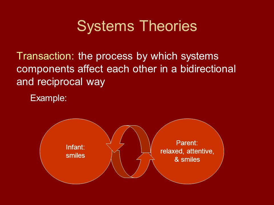 Systems Theories Transaction: the process by which systems components affect each other in a bidirectional and reciprocal way.