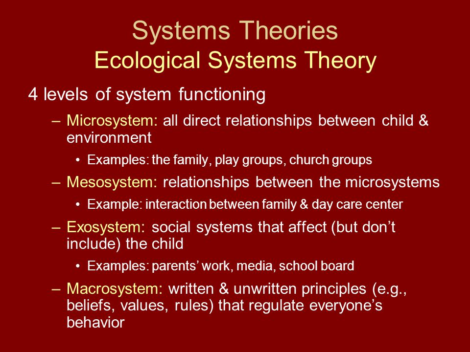 Systems Theories Ecological Systems Theory