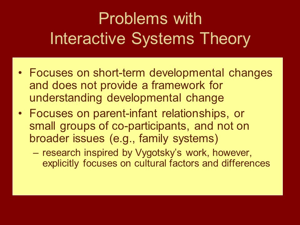 Problems with Interactive Systems Theory