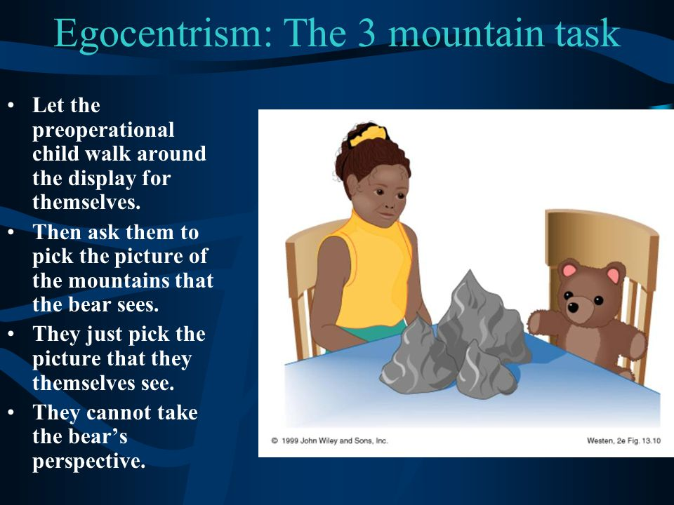 Egocentrism: The 3 mountain task