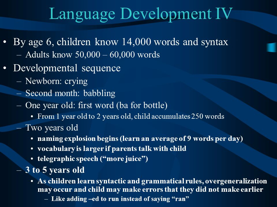 Language Development IV