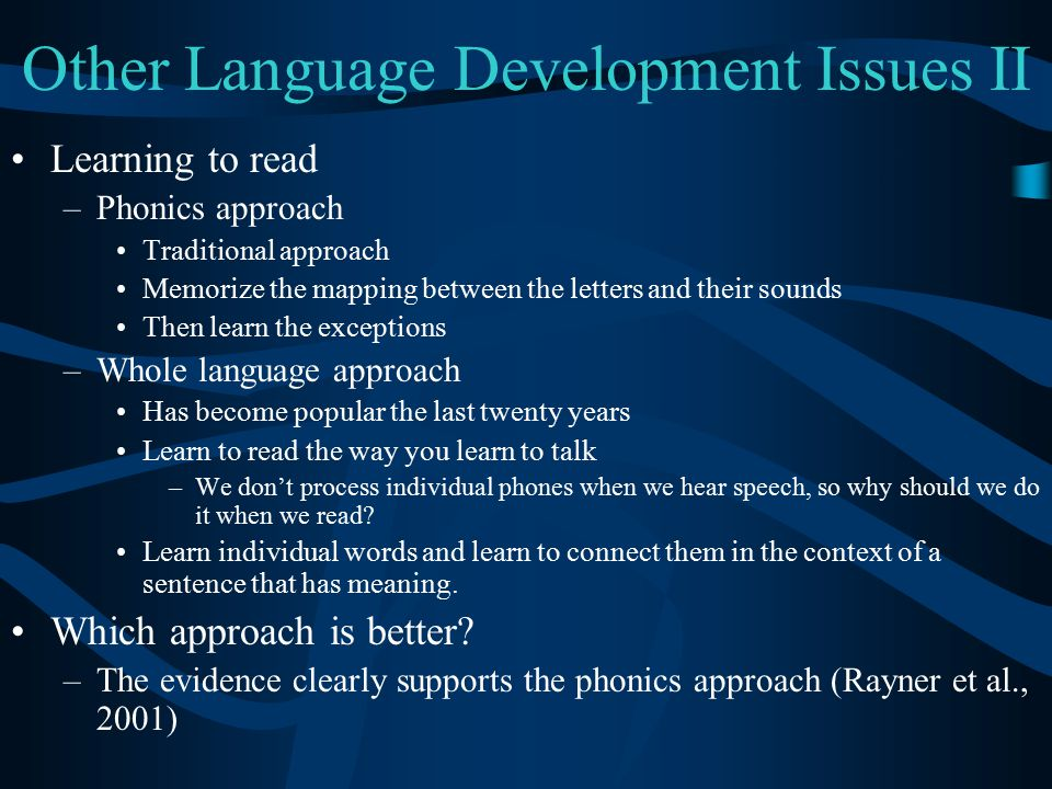 Other Language Development Issues II