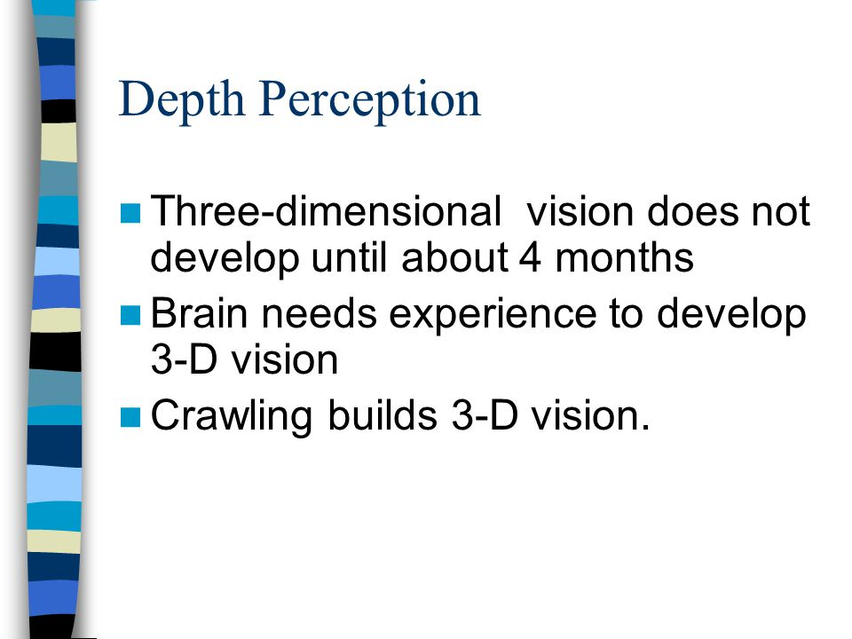 Depth Perception Three-dimensional vision does not develop until about 4 months. Brain needs experience to develop 3-D vision.