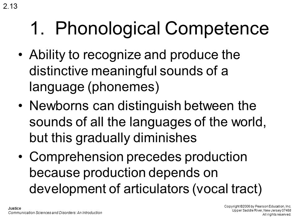 1. Phonological Competence