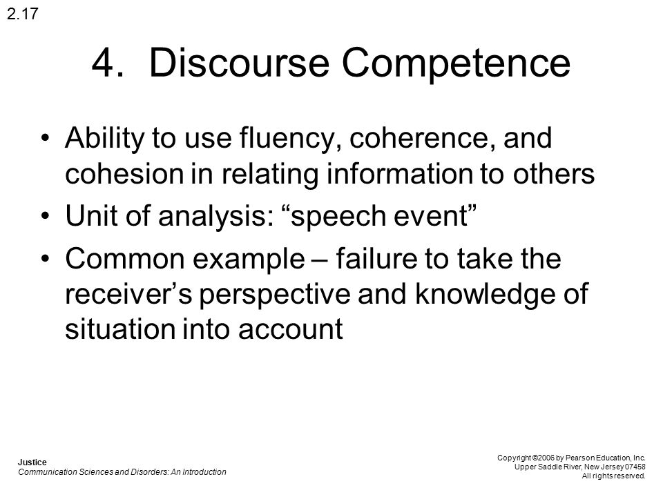 2.17 4. Discourse Competence. Ability to use fluency, coherence, and cohesion in relating information to others.