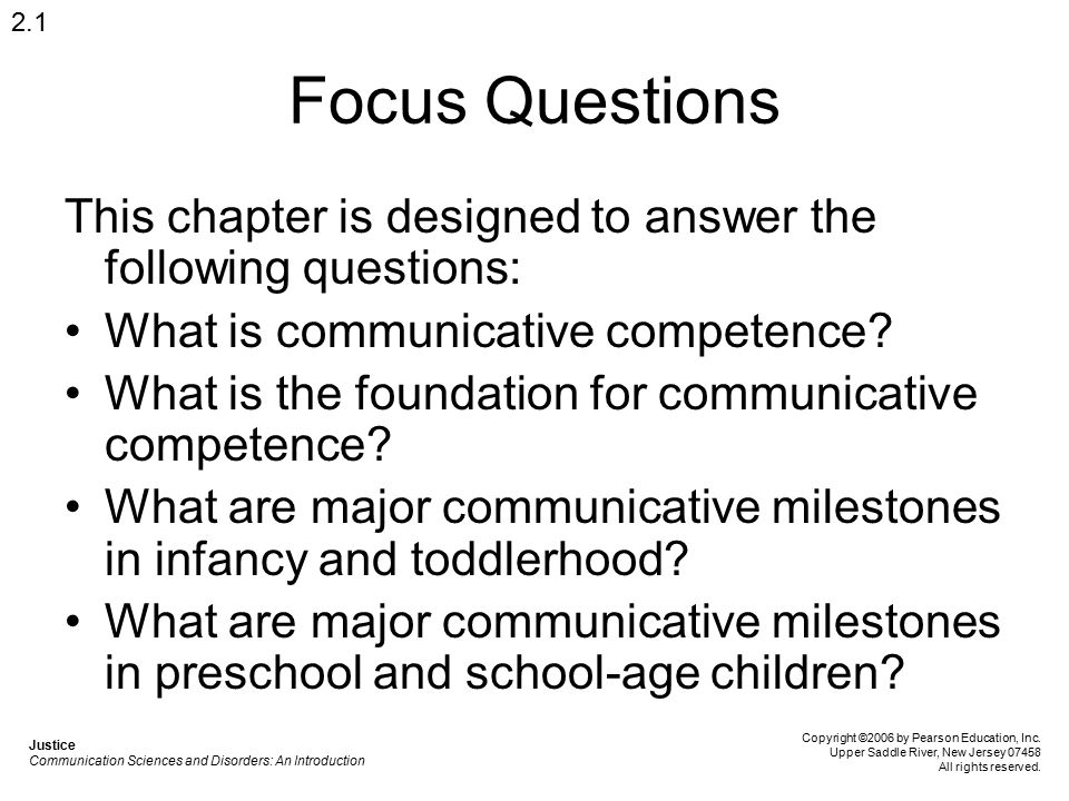 2.1 Focus Questions. This chapter is designed to answer the following questions: What is communicative competence