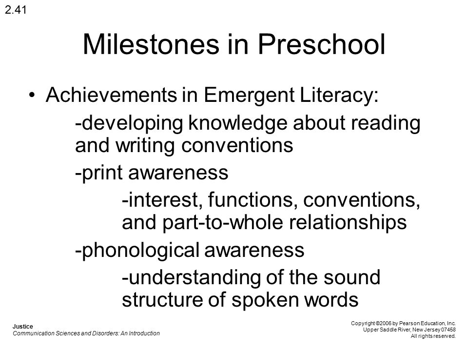 Milestones in Preschool