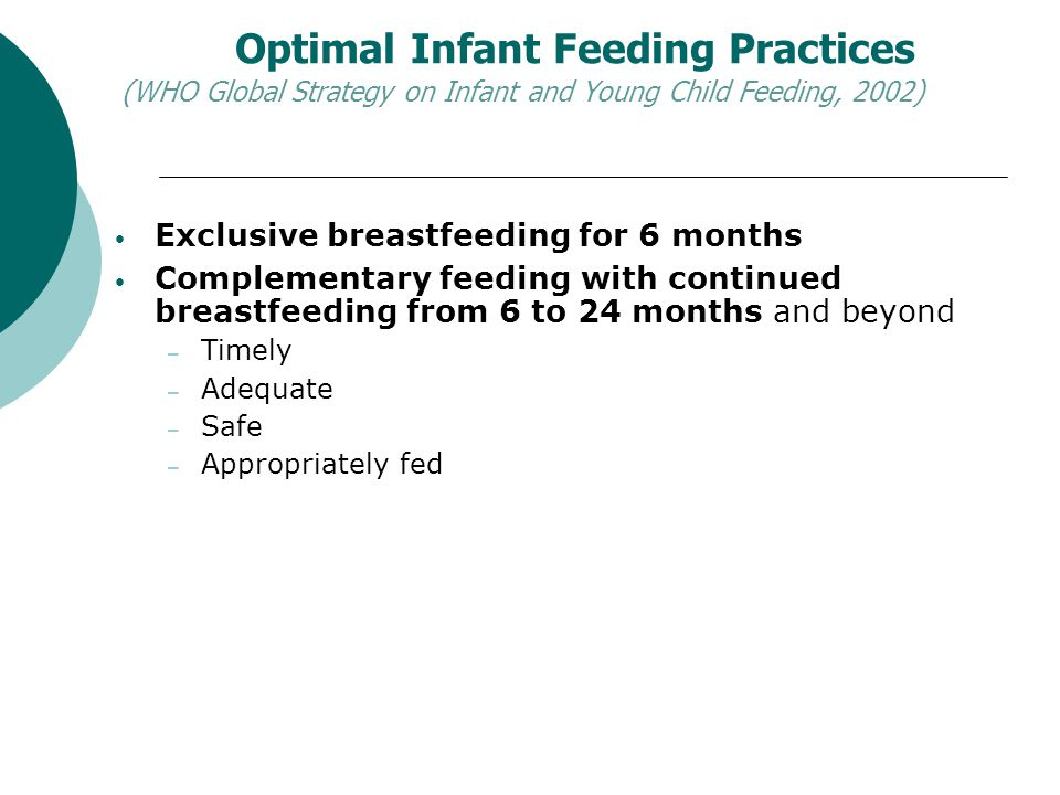 Optimal Infant Feeding Practices (WHO Global Strategy on Infant and Young Child Feeding, 2002)