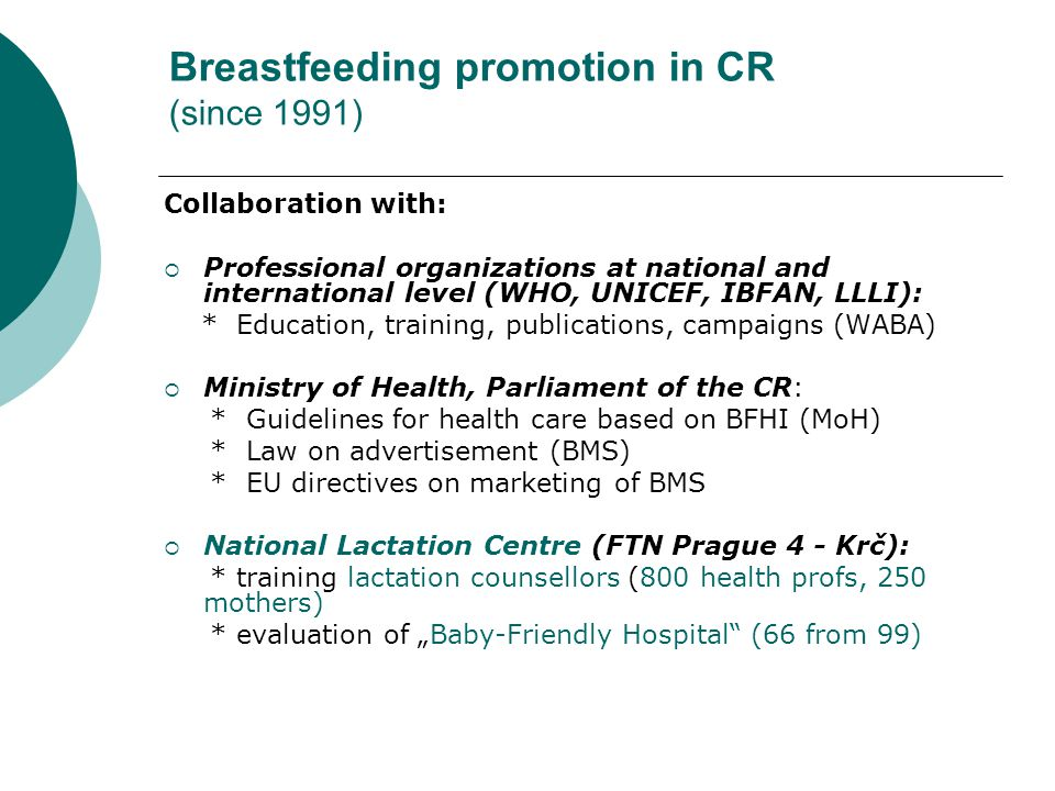 Breastfeeding promotion in CR (since 1991)
