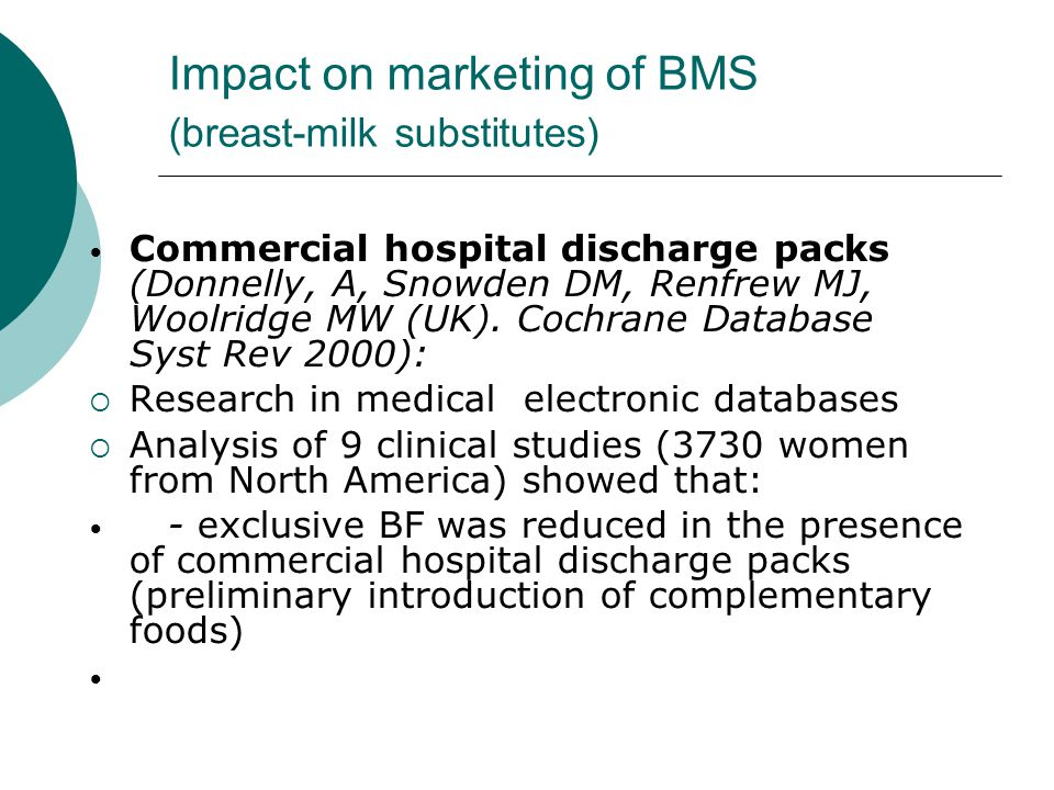 Impact on marketing of BMS (breast-milk substitutes)