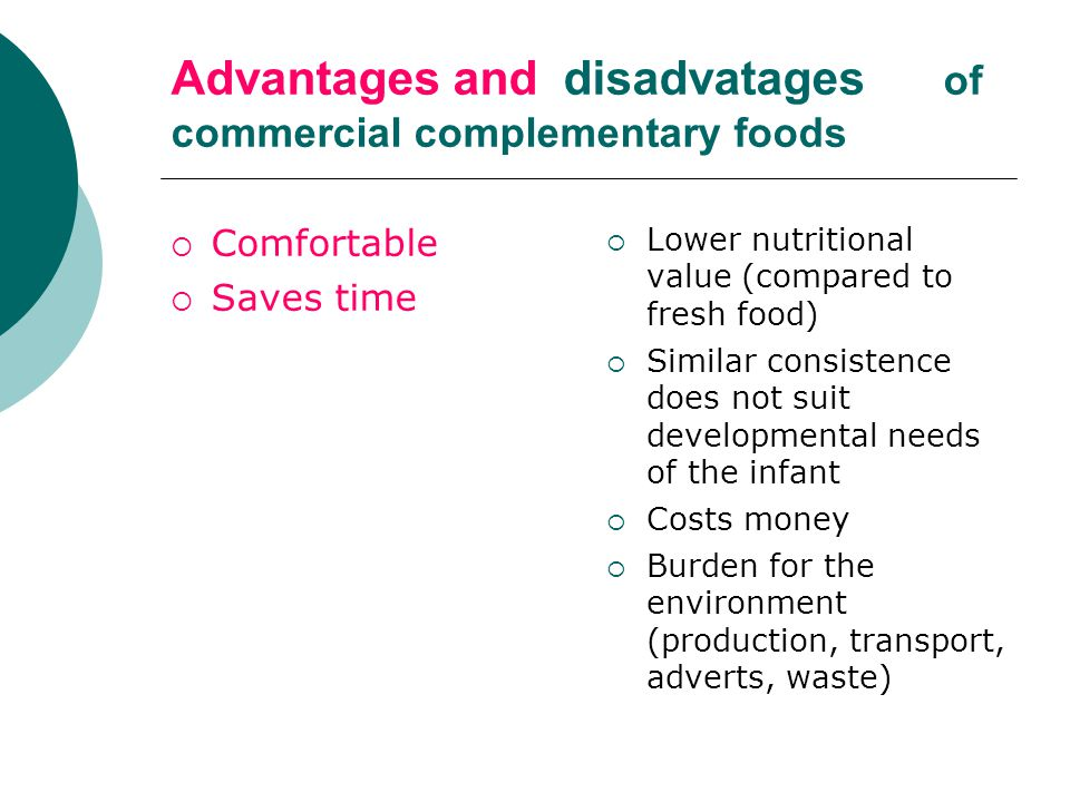 Advantages and disadvatages of commercial complementary foods