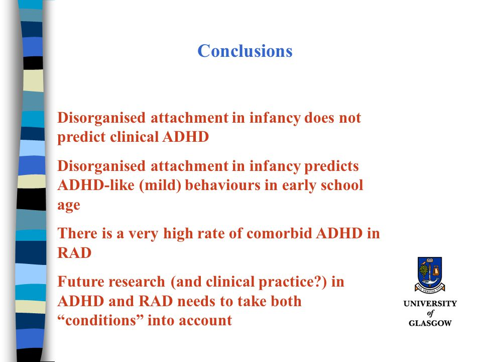 Conclusions Disorganised attachment in infancy does not predict clinical ADHD.