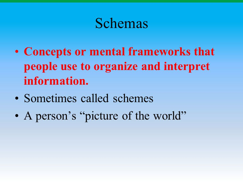 Schemas Concepts or mental frameworks that people use to organize and interpret information. Sometimes called schemes.