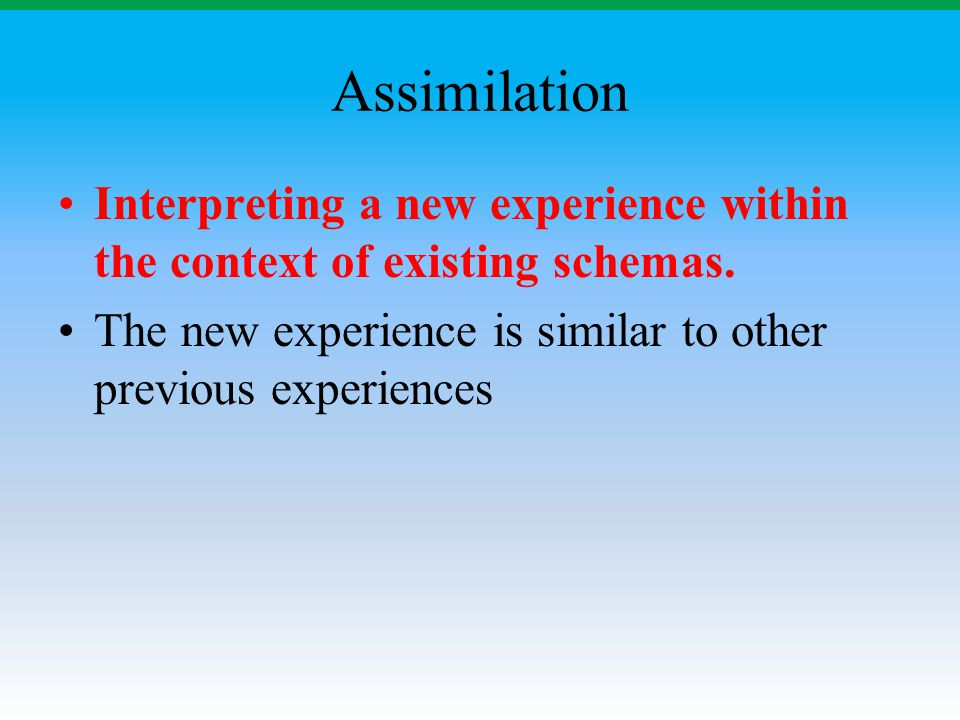 Assimilation Interpreting a new experience within the context of existing schemas.