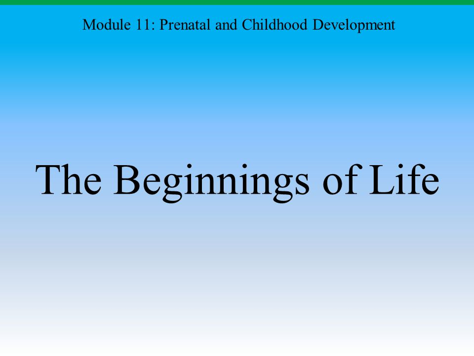 Module 11: Prenatal and Childhood Development