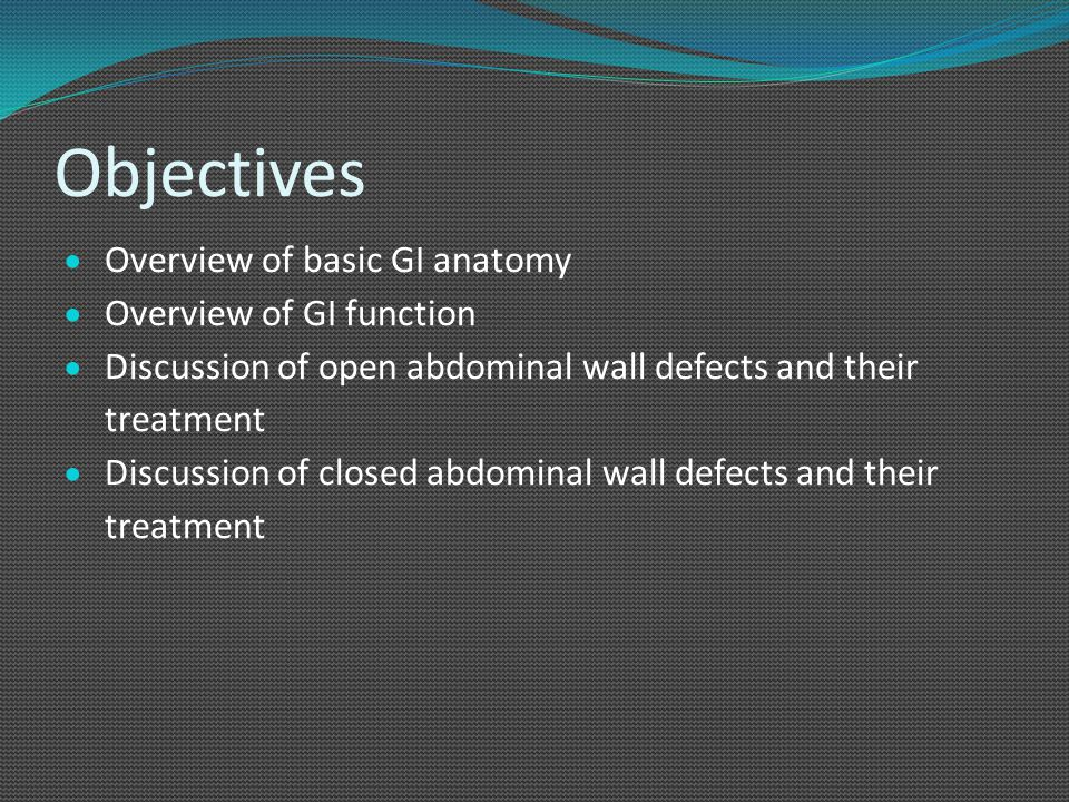 Objectives Overview of basic GI anatomy Overview of GI function