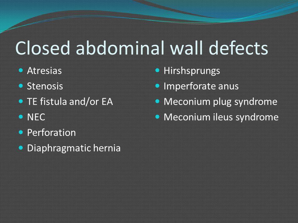 Closed abdominal wall defects