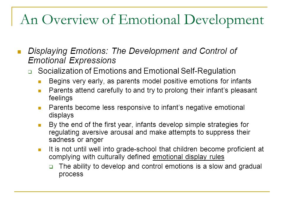 An Overview of Emotional Development