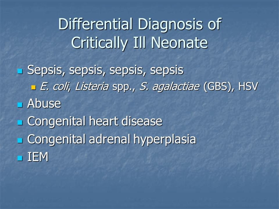 Differential Diagnosis of Critically Ill Neonate