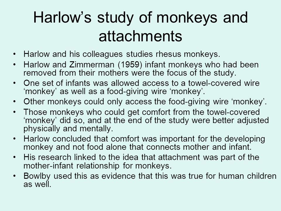 Harlow's study of monkeys and attachments