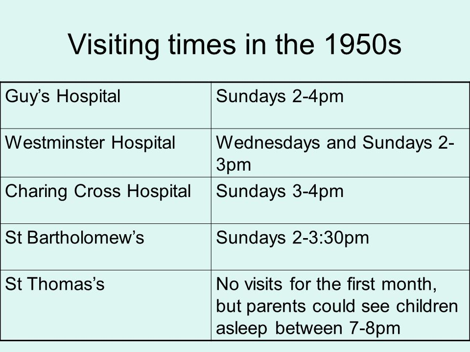 Visiting times in the 1950s Guy's Hospital Sundays 2-4pm