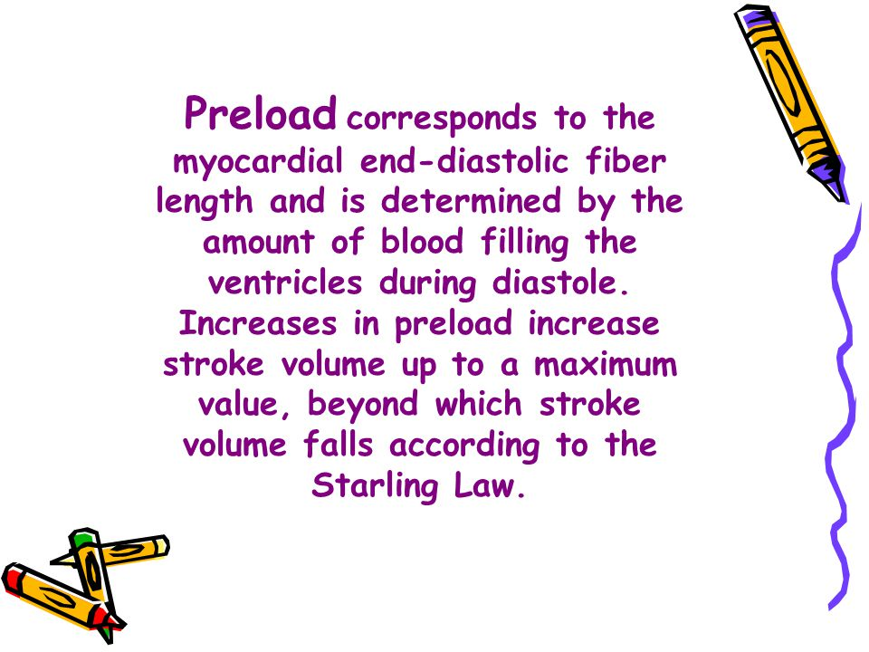 Preload corresponds to the myocardial end-diastolic fiber length and is determined by the amount of blood filling the ventricles during diastole.