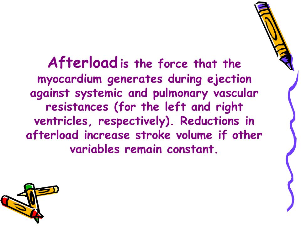 Afterload is the force that the myocardium generates during ejection against systemic and pulmonary vascular resistances (for the left and right ventricles, respectively).