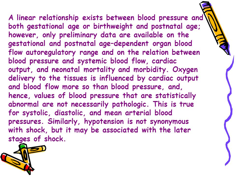 A linear relationship exists between blood pressure and both gestational age or birthweight and postnatal age; however, only preliminary data are available on the gestational and postnatal age–dependent organ blood flow autoregulatory range and on the relation between blood pressure and systemic blood flow, cardiac output, and neonatal mortality and morbidity.
