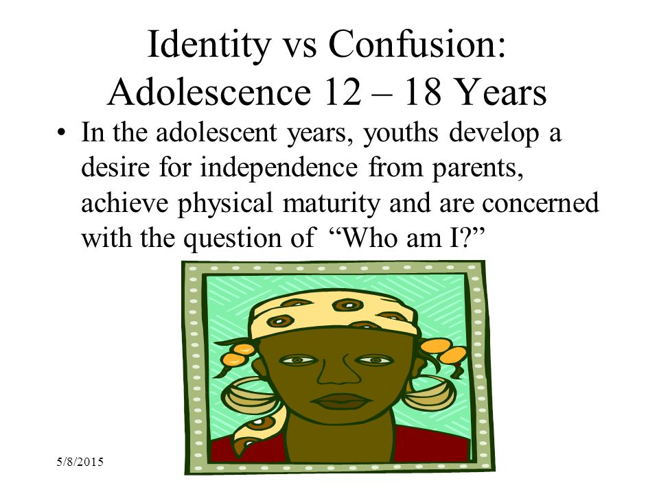 Identity vs Confusion: Adolescence 12 – 18 Years
