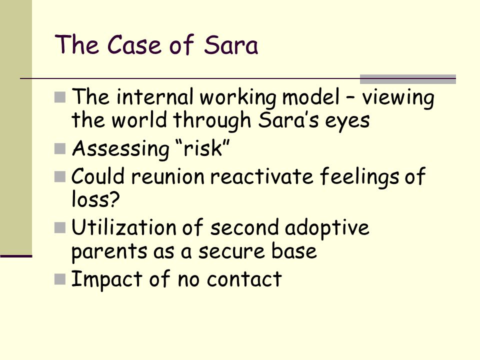 The Case of Sara The internal working model – viewing the world through Sara's eyes. Assessing risk