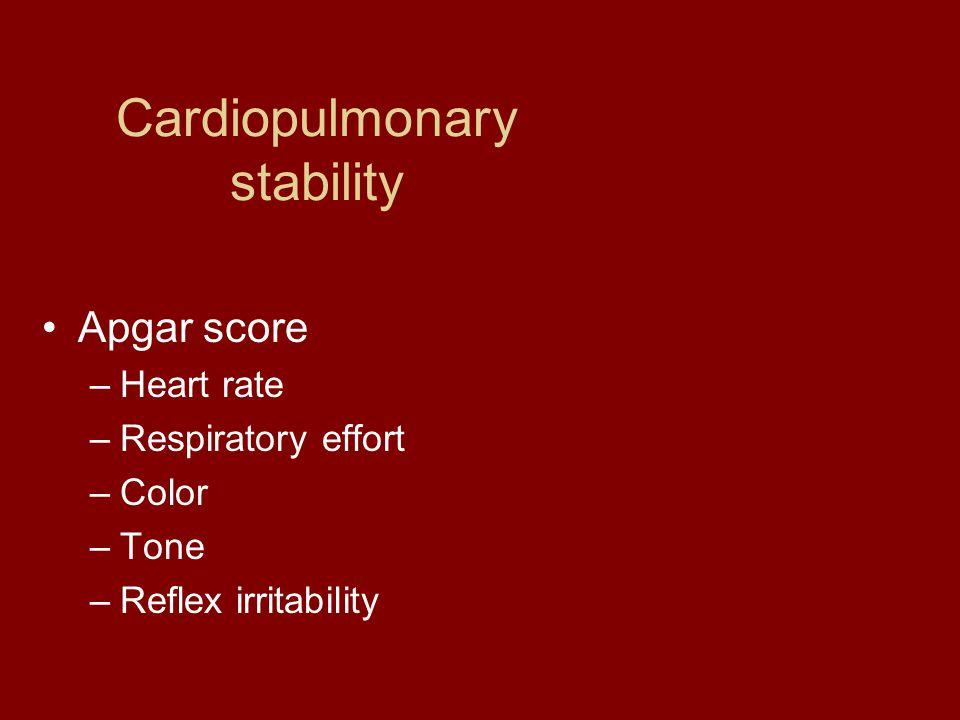 Cardiopulmonary stability