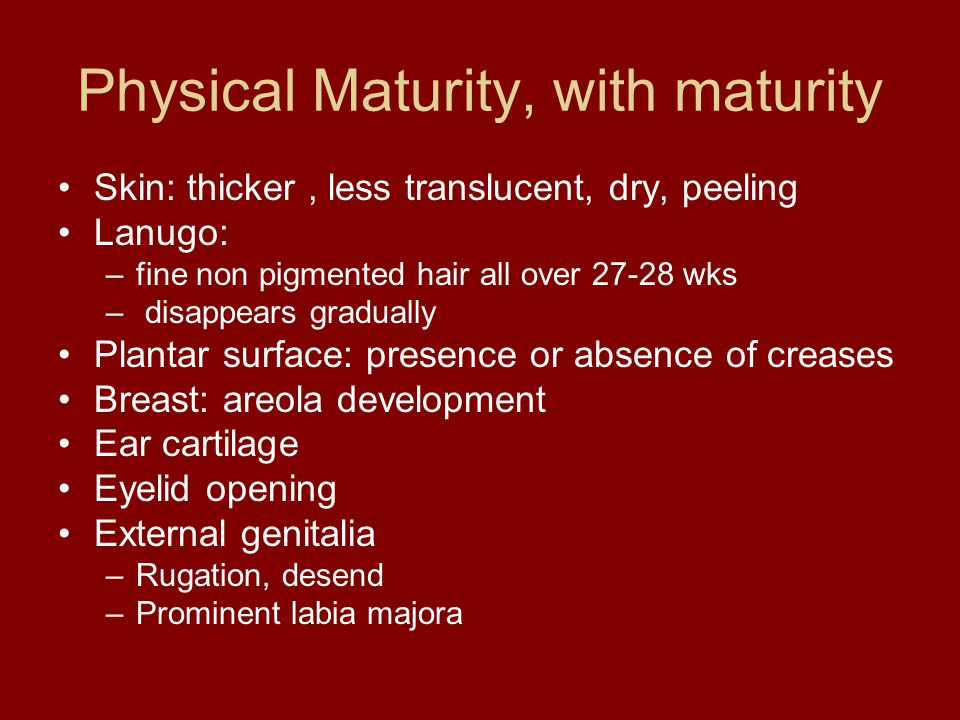 Physical Maturity, with maturity