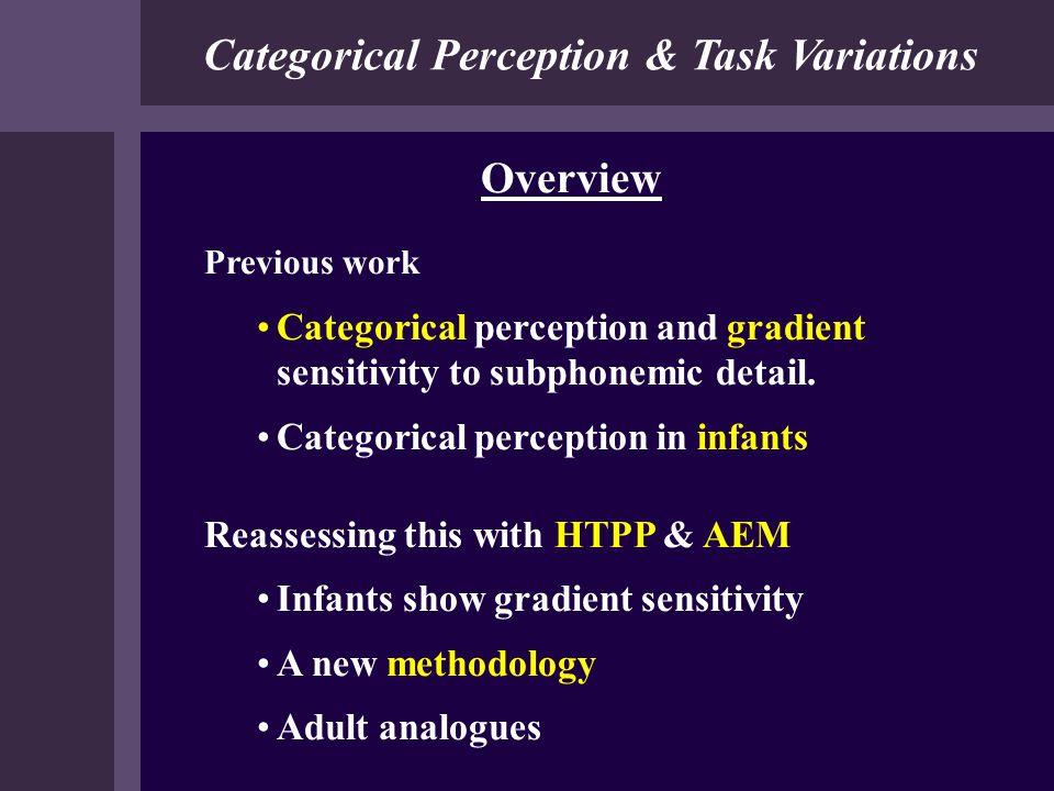 Categorical Perception & Task Variations