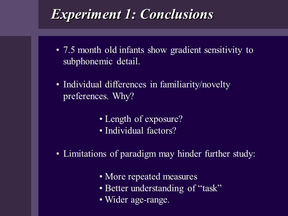 Experiment 1: Conclusions