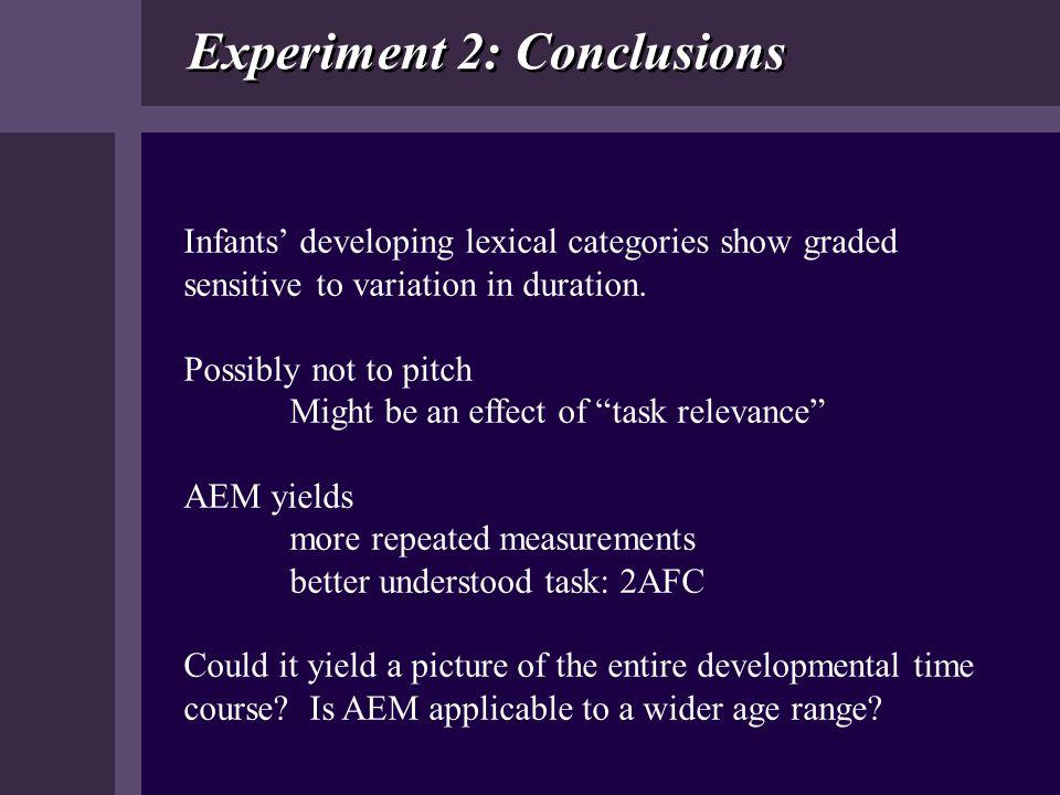 Experiment 2: Conclusions