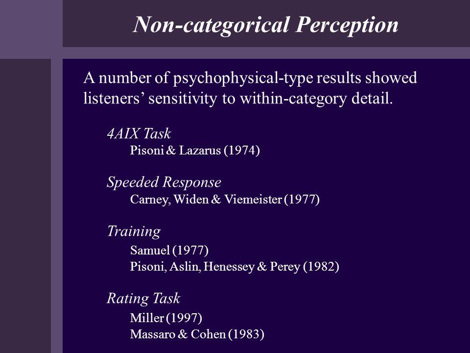 Non-categorical Perception