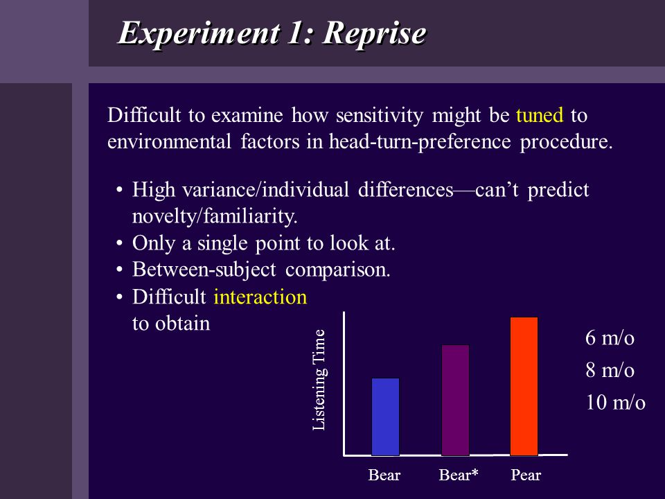 Experiment 1: Reprise Difficult to examine how sensitivity might be tuned to environmental factors in head-turn-preference procedure.
