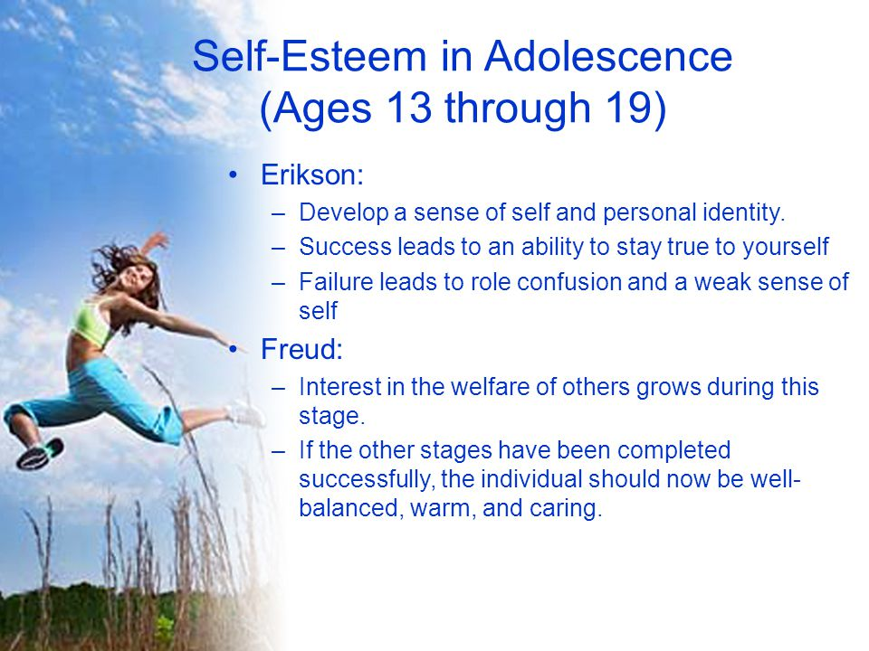 Self-Esteem in Adolescence (Ages 13 through 19)