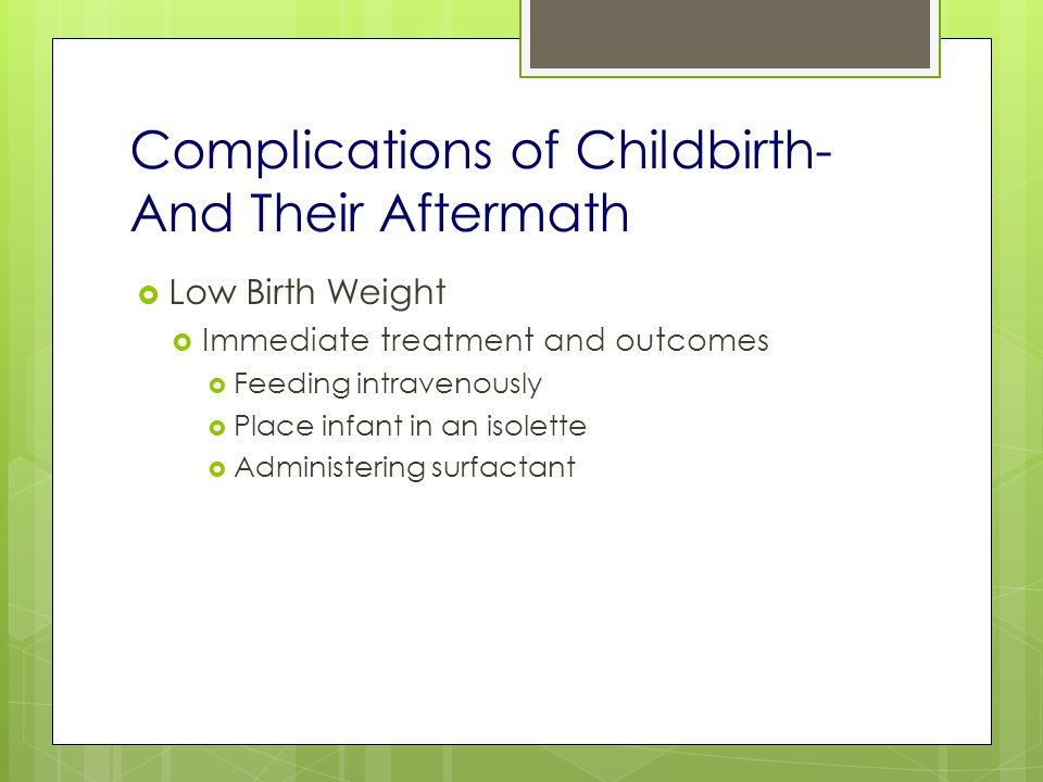 Complications of Childbirth- And Their Aftermath